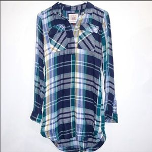 Relaxed Soft Colored Plaid Shirt Dress Size XS